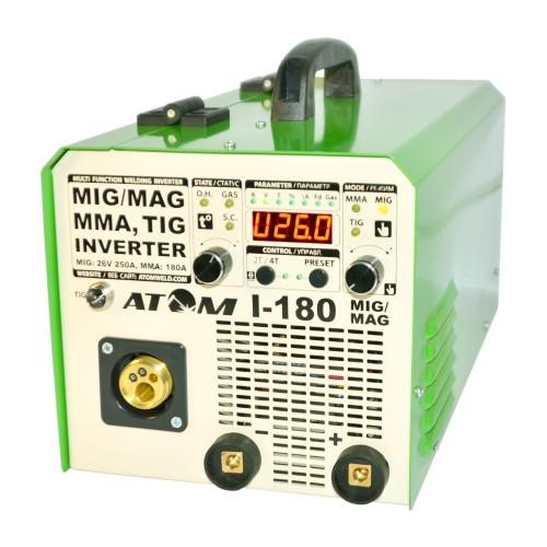 Сварочный инверторный полуавтомат Атом I-180 MIG/MAG (с горелкой и кабелями)